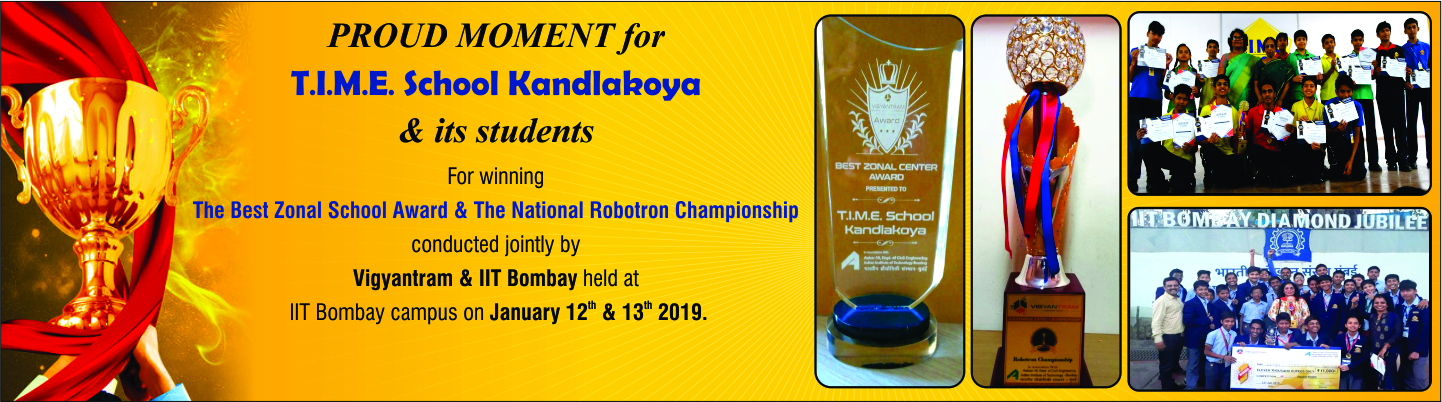 T.I.M.E. School Kandlakoya, Hyderabad Team Wins National Robotron Championship